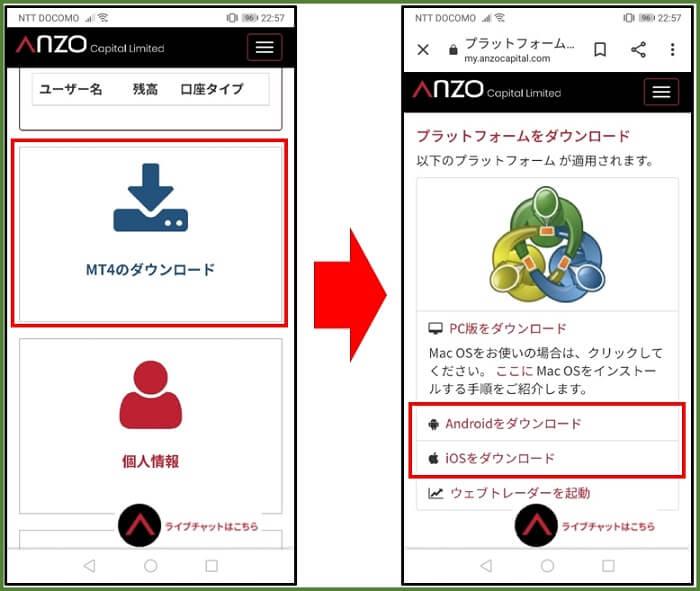 anzo MT4スマホダウンロード1